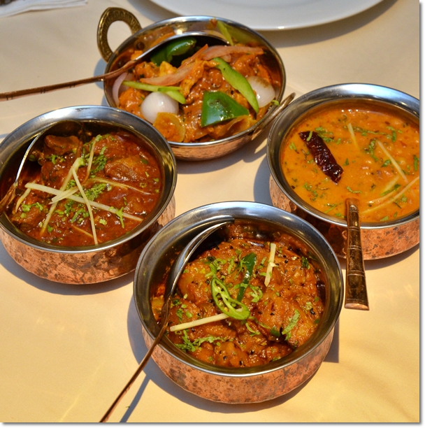 Mutton Rogan Josh, Dhall Tharka, Kadhai Chicken,  Aloo Achari