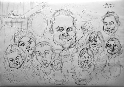 group caricatures for Cisco - pencil sketch