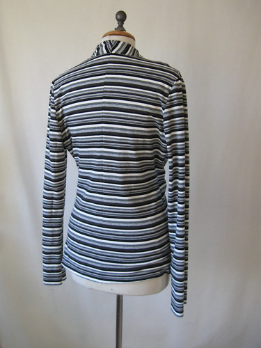 wrap top knit grey stripe back
