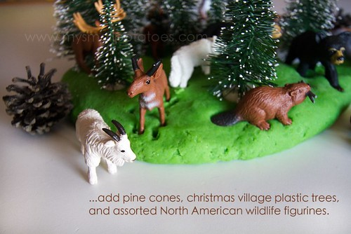 Woodsy Playland with Pine-Scented Play Dough (Photo from Small Potatoes)