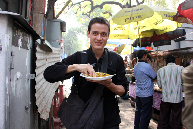 Eating street food in Kolkata, India