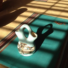 #fmsphotoaday day 17 - shadow. Shadows of blinds and a jar and vase on my kitchen table.