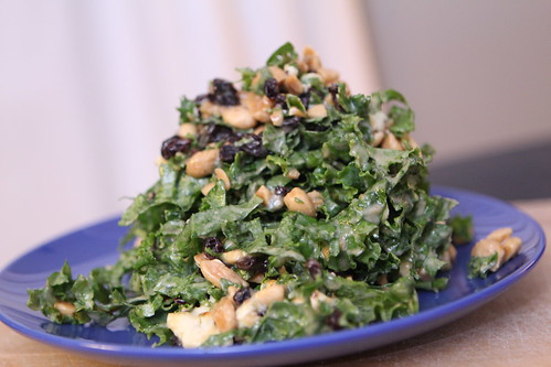 Kale Salad with Sesame Fig Dressing, Currants, and Marcona Almonds