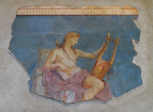 Apollo with lyre, fresco fragment from the vicinity of Augustus house, Palatine Museum, Rome