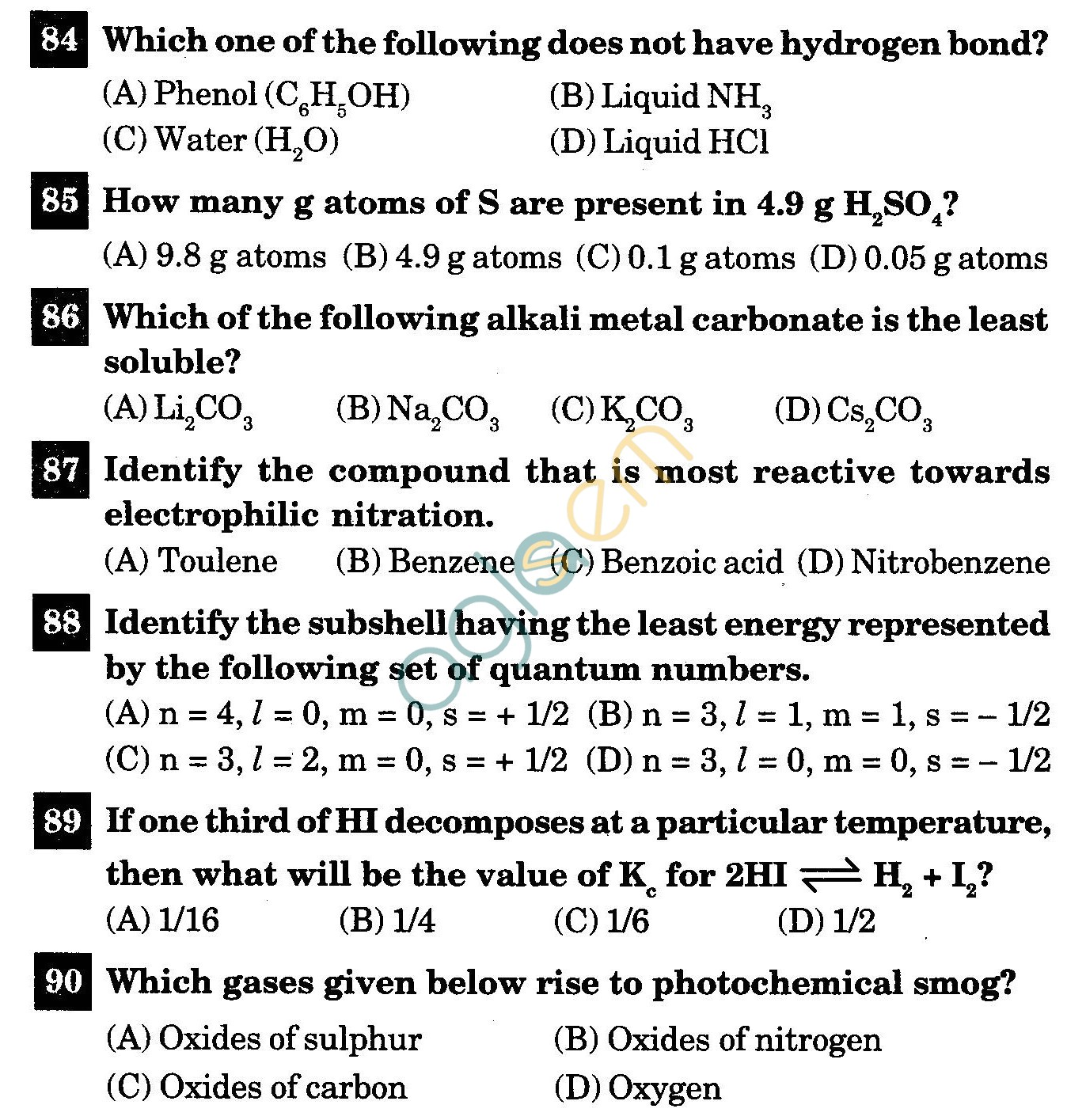 NSTSE 2011 Class XI PCB Question Paper with Answers - Chemistry