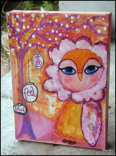 quadretto mixed media gufo acquerello e tempera art journal pages