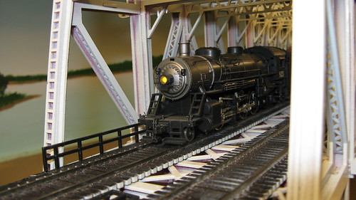H.O Scale steam powered freight train crossing the Missisippi River lift bridge. by Eddie from Chicago