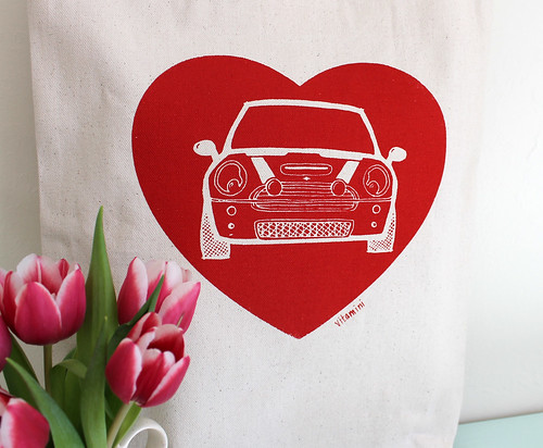 mini cooper heart tote bag handmade by vitamini