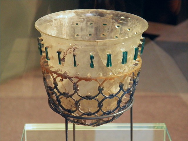 The so-called Trivulzio Diatreta Cup, a 4th century glass jug surrounded by a web of glass circles, around the surface runs Latin inscription