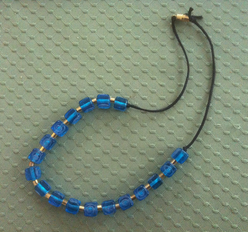 Necklace with Brass and Blue Irish Glass Beads by randubnick