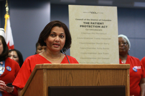 Rajini Raj, RN calls for nurse-to-patient ratios at DC press conference