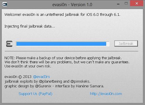 Evasi0n jailbreak tool iOS 6.1
