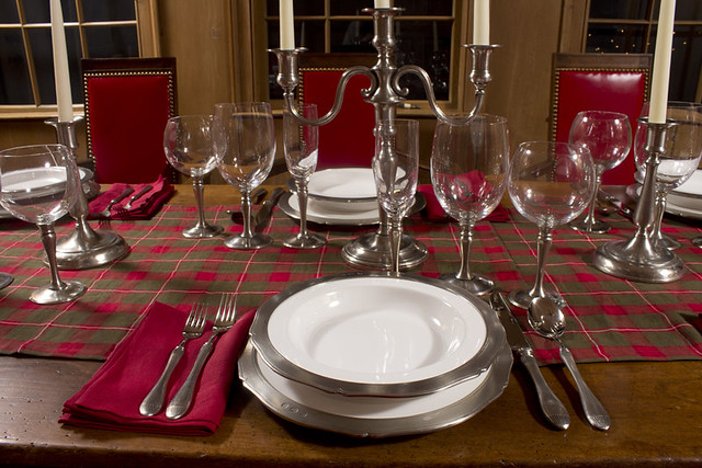 Match Pewter Tableware with Red Linen Napkins