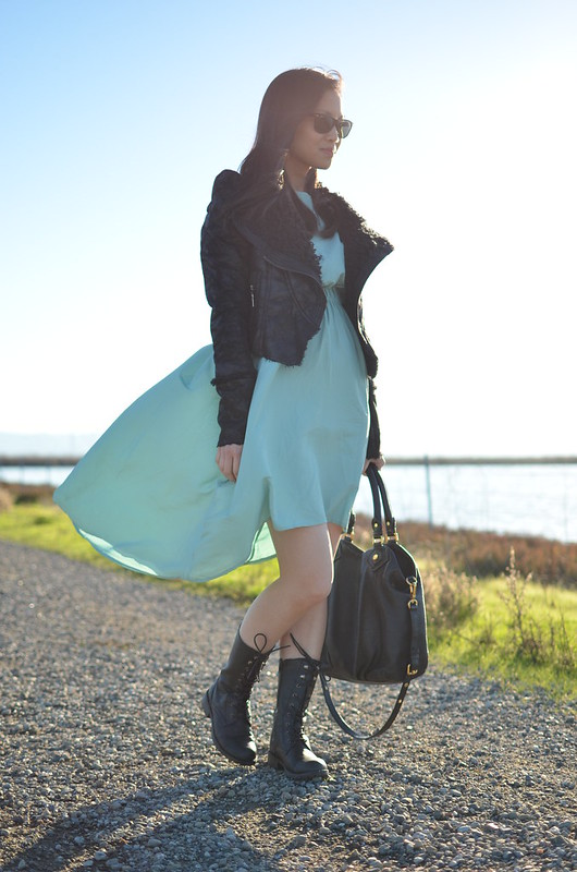 black combat boots & asymmetrical high-low mint dress