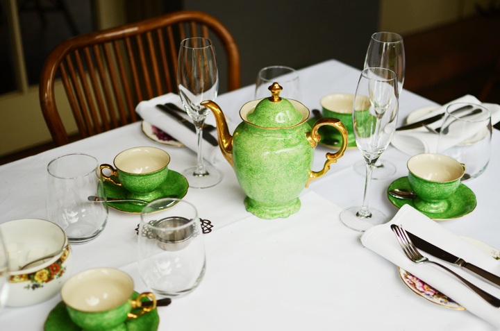 green vintage tea set