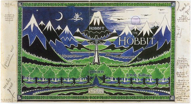 J.R.R. Tolkien's dust jacket painting for The Hobbit