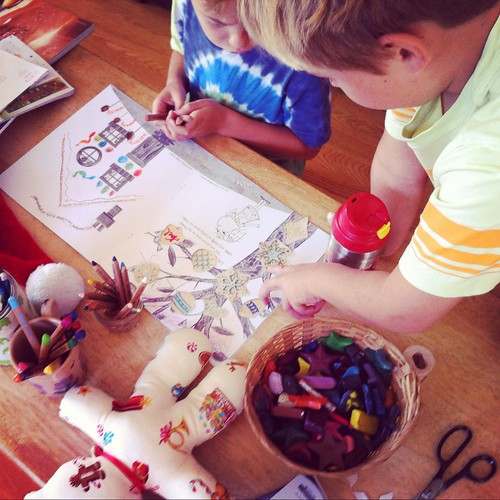coloring with the boys
