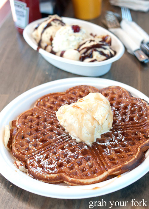 waffle with maple syrup and ice cream at step-a-side diner cabramatta