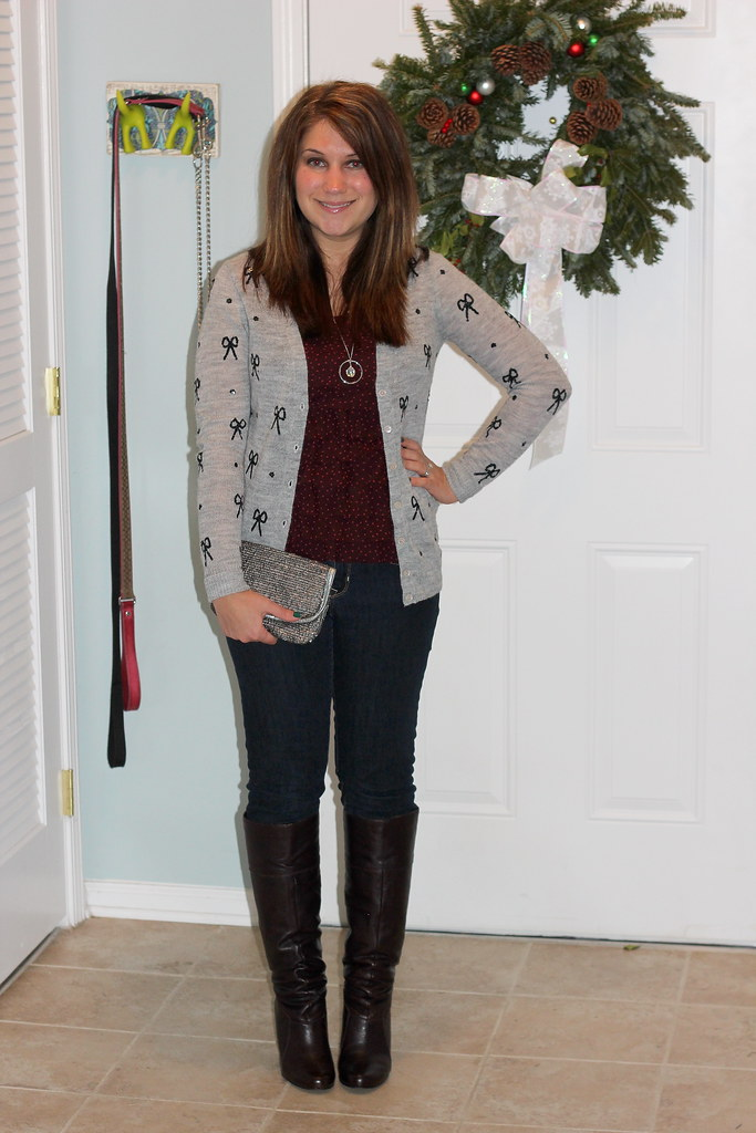 J Crew Sequin Bow Cardigan casual outfit