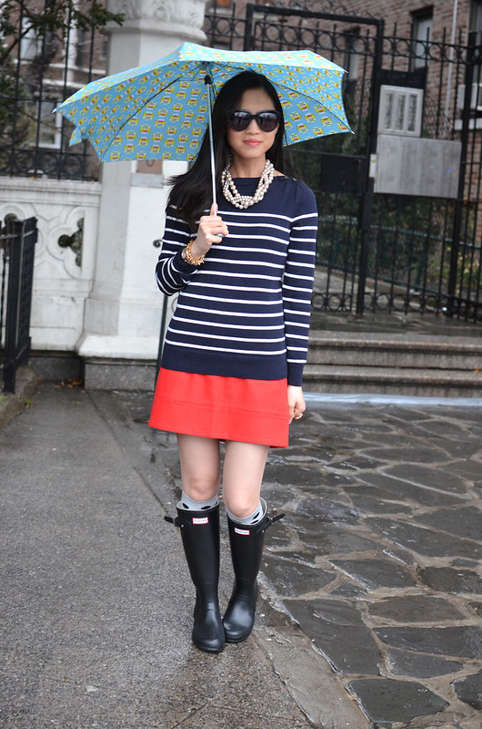 skirt & striped sweater with Hunter rain boots