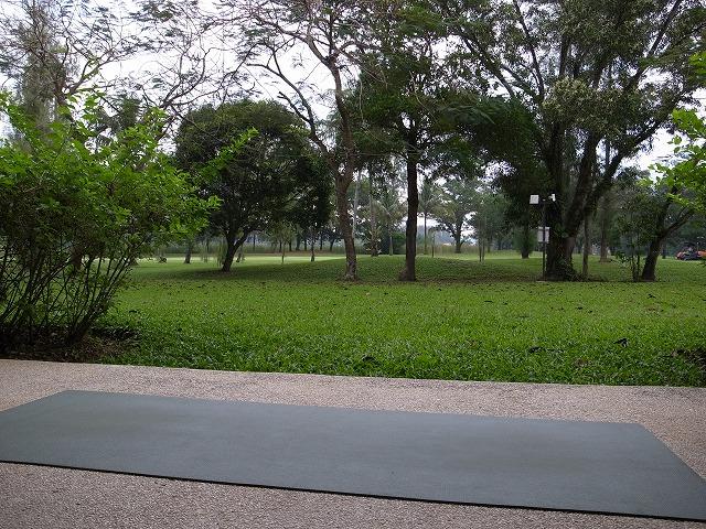 <p>目の前はゴルフ場。ヨガマット持参なので朝日が昇り始めるころから、アーサナの練習をしています。</p>