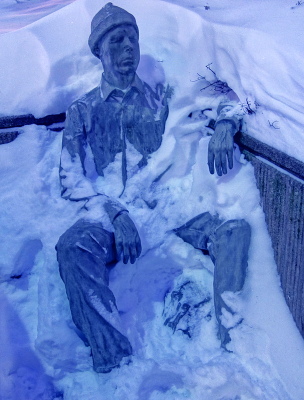 Statue of a frozen student