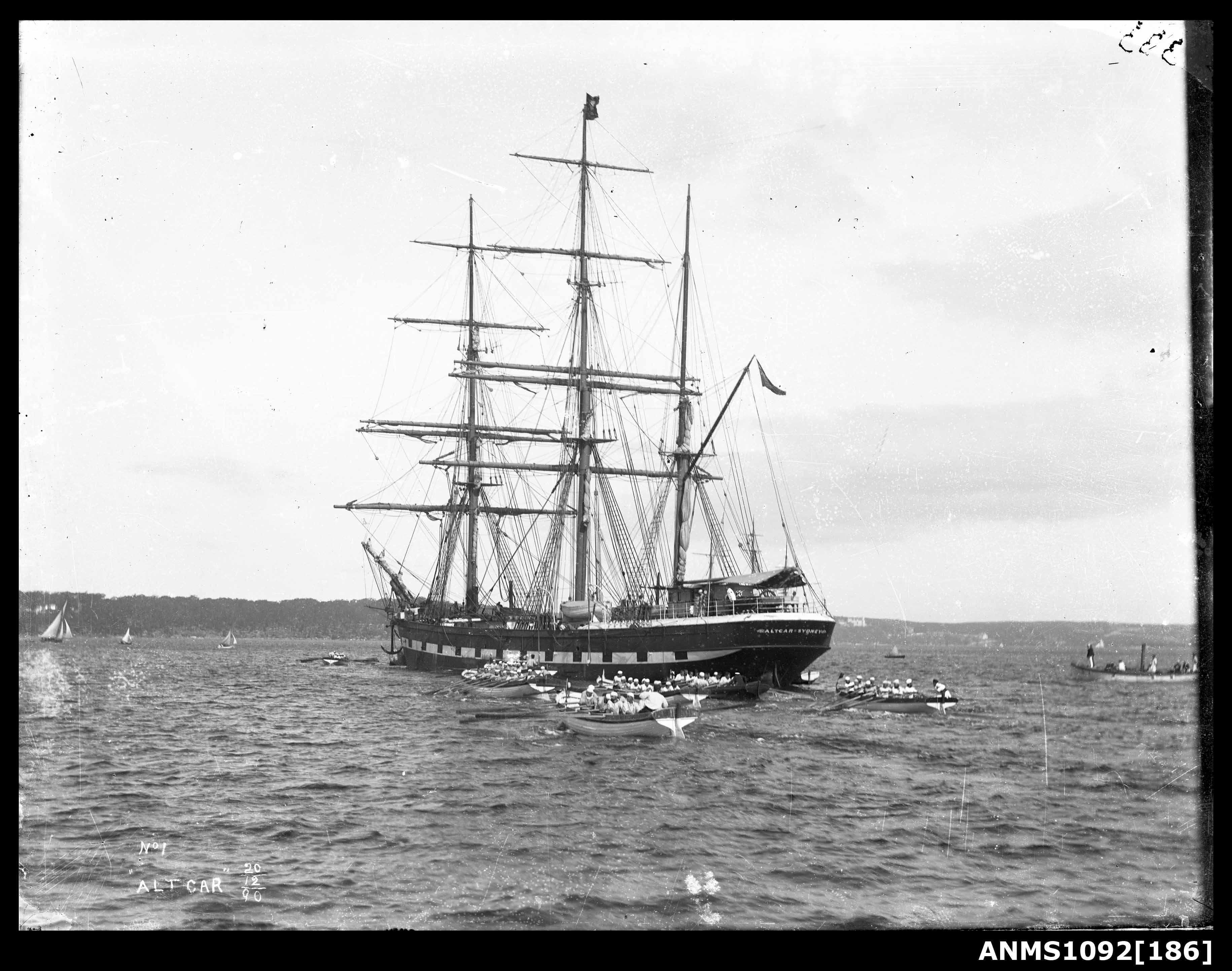 Three masted barque ALTCAR at anchor, Sydney Harbour