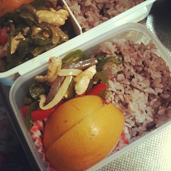 #bento for the road : leftover chinjaorosu, rice & Asian pear