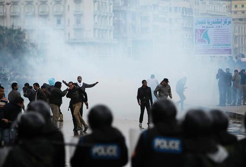 Clashes in Alexandria, Egypt on December 21, 2012 resulted in the injuries of 77 people. The clashes resulted from the controversial referendum on a new constitution. by Pan-African News Wire File Photos