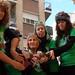 El colectivo Marea Verde hace una representación contra los recortes en la enseñanza