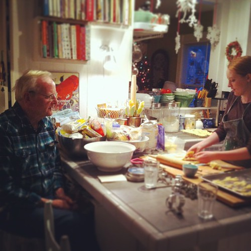 Papa and Olivia discuss cookie-making #teen #family  #fromourkitchen #yule