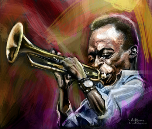 digital caricature of Miles Davis