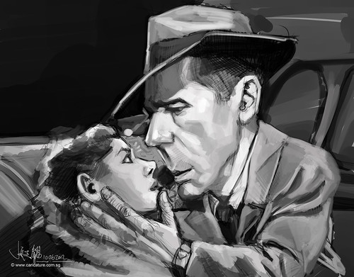 digital caricature painting of Bogart Hemphrey - 2