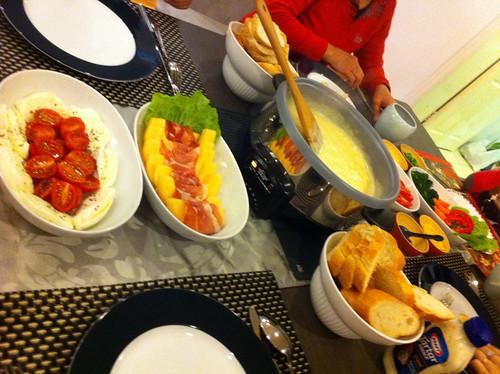 Cheese fondue on Christmas Eve