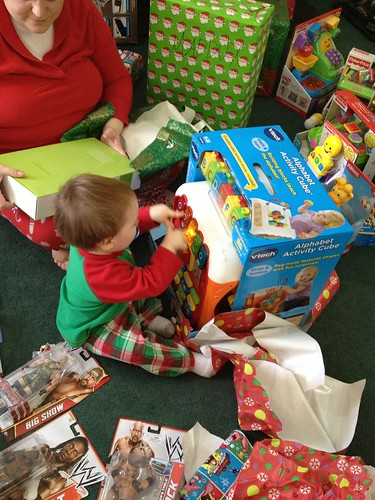 Maddux getting the hang of opening gifts