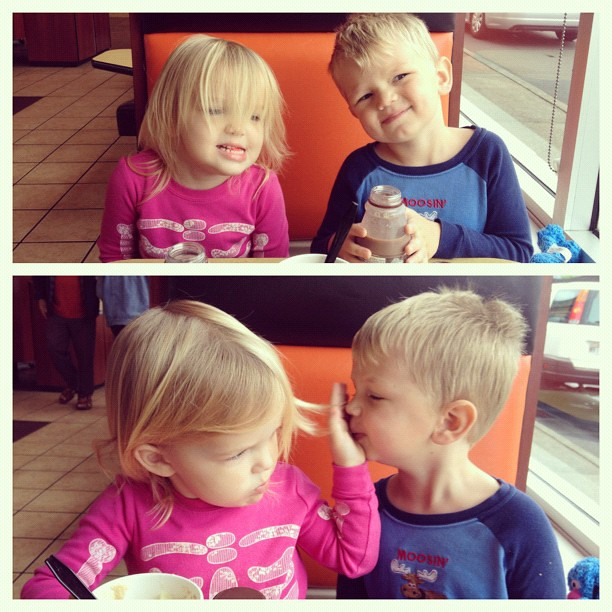 Christmas morning dates.  Dad was at work so we went for hot chocolate at McDonald's.  #latergram