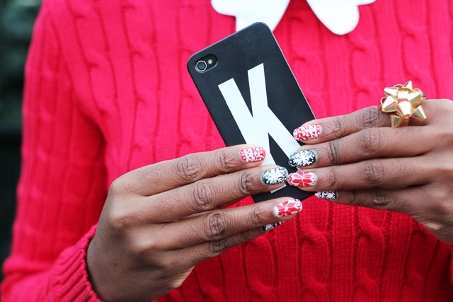 Festive Christmas nail art initial phone case by alphabet bags