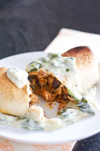 Baked Burritos with Sour Cream-Poblano Sauce