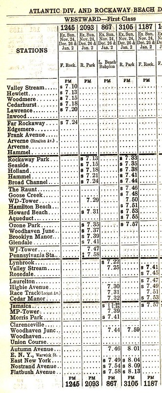 LIRR Atlantic and Rockaway Beach 1927 Schedule