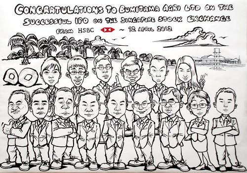 group caricatures for HSBC - Bumitama Agri (original) - outline