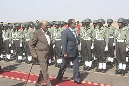 Somalia President Hassan makes state visit to Sudan to hold talks with President Omar Hassan al-Bashir. Somalia is being occupied by 17,000 US-led troops from various African states. by Pan-African News Wire File Photos
