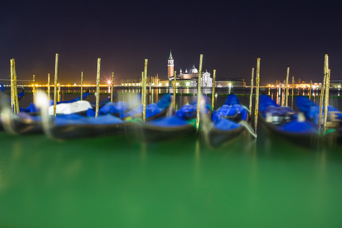 Bottle Green (Moored Gondolas By Night), Venice by flatworldsedge