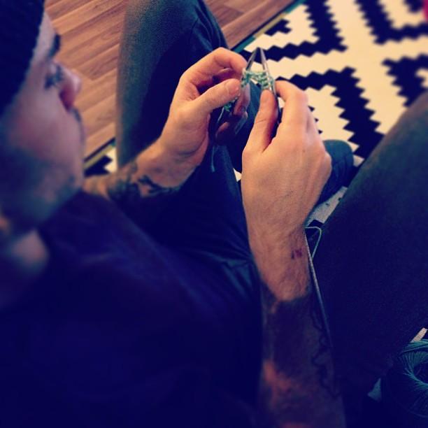 I taught Kurt how to knit last night.