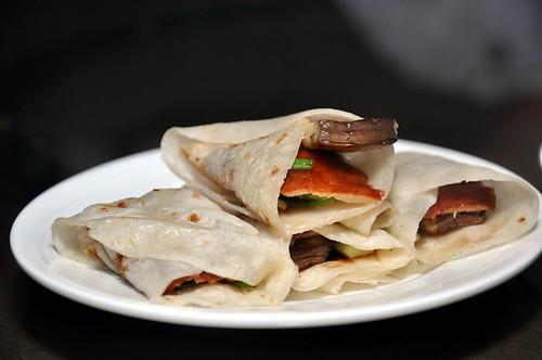 Peking Duck wrap with Eringi Mushroom