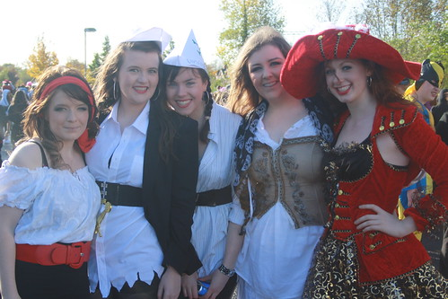 Sixth Year Pirates at the Halloween Walk,  Kelly a. Murphy, Niamh Coleman, Aisling Morrin, Lauren Morrissey and Aoibhinn O Neill
