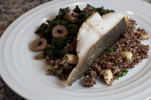Black cod with swiss chard