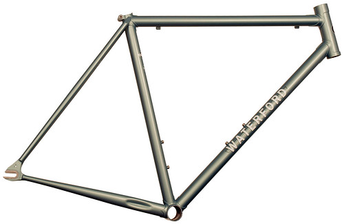 <p>Waterford 22-Series Artisan Road Fixed Gear in Sea Silver Poly.  It sports stainless steel track dropouts with bordered faces and a head tube extension.</p>