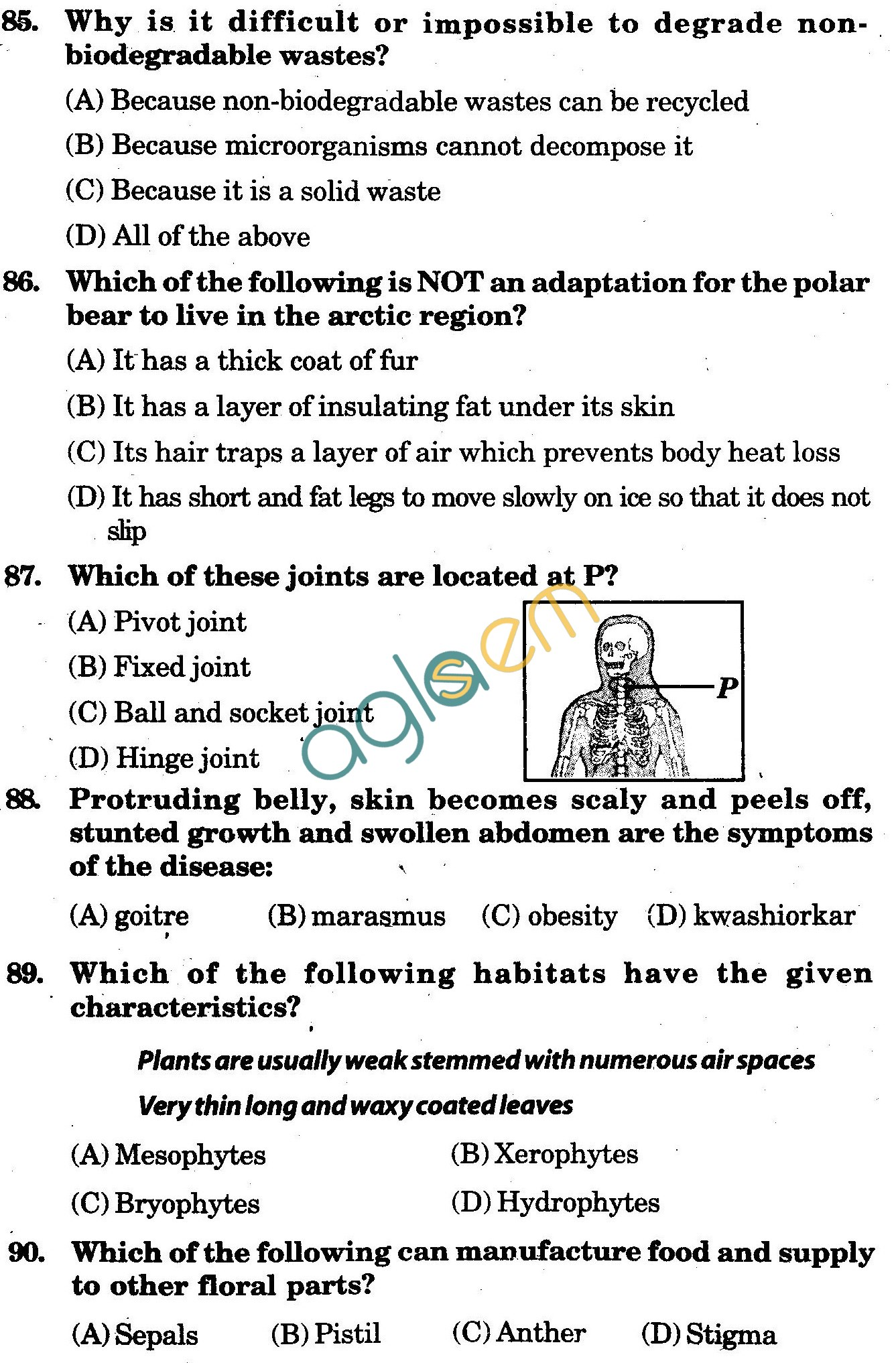 NSTSE 2009 Class VI Question Paper with Answers - Biology