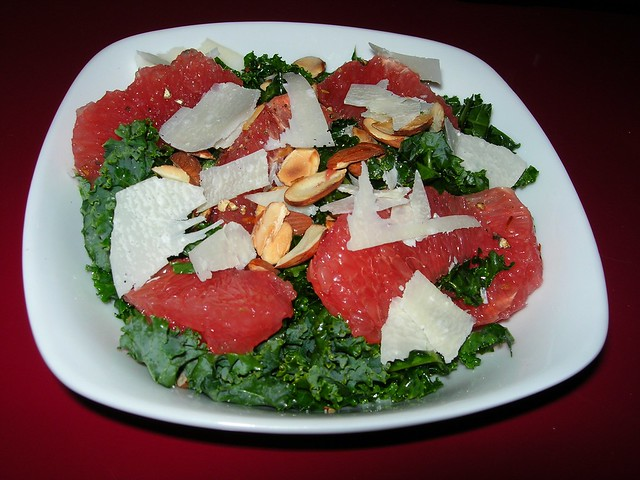 Kale & Grapefruit Salad with Toasted Almonds and Parmesan
