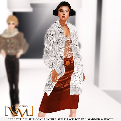 [VM] VERO MODERO _ Beren Fur Coat Set White